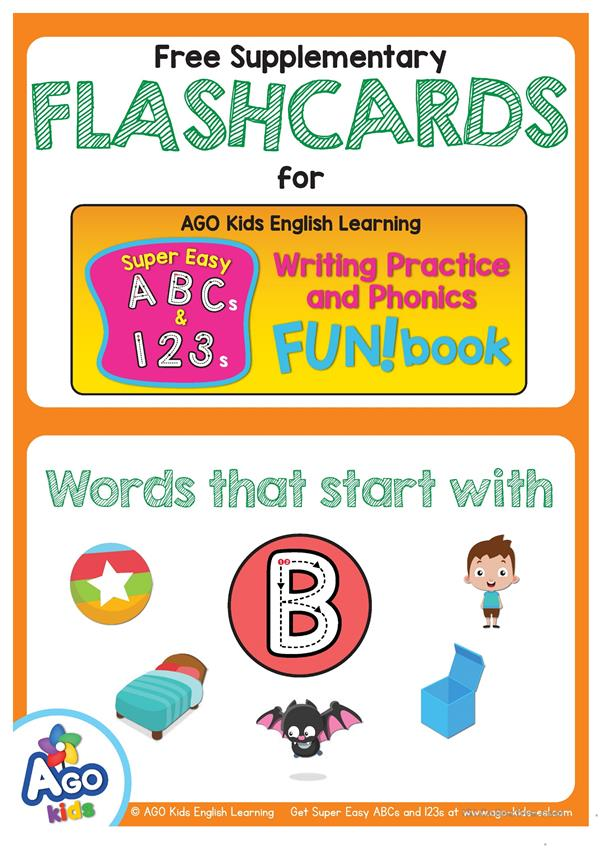 Words Starting With B - BINGOBONGO Super Easy ABCs and 123s Flashcards