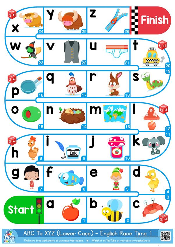 A-Z Lower Case Alphabet - ESL Board Game - English ESL Worksheets For  Distance Learning And Physical Classrooms