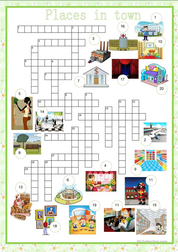 crosswords city places in town english esl. Black Bedroom Furniture Sets. Home Design Ideas