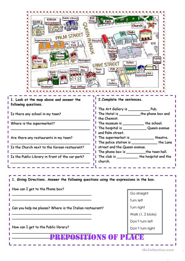 prepositions of place and directions worksheet free esl printable worksheets made by teachers. Black Bedroom Furniture Sets. Home Design Ideas
