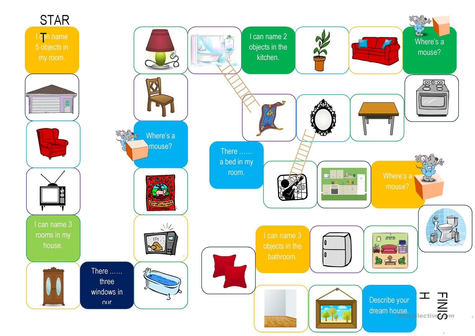 Board Game Rooms Furniture Worksheet Free Esl Printable