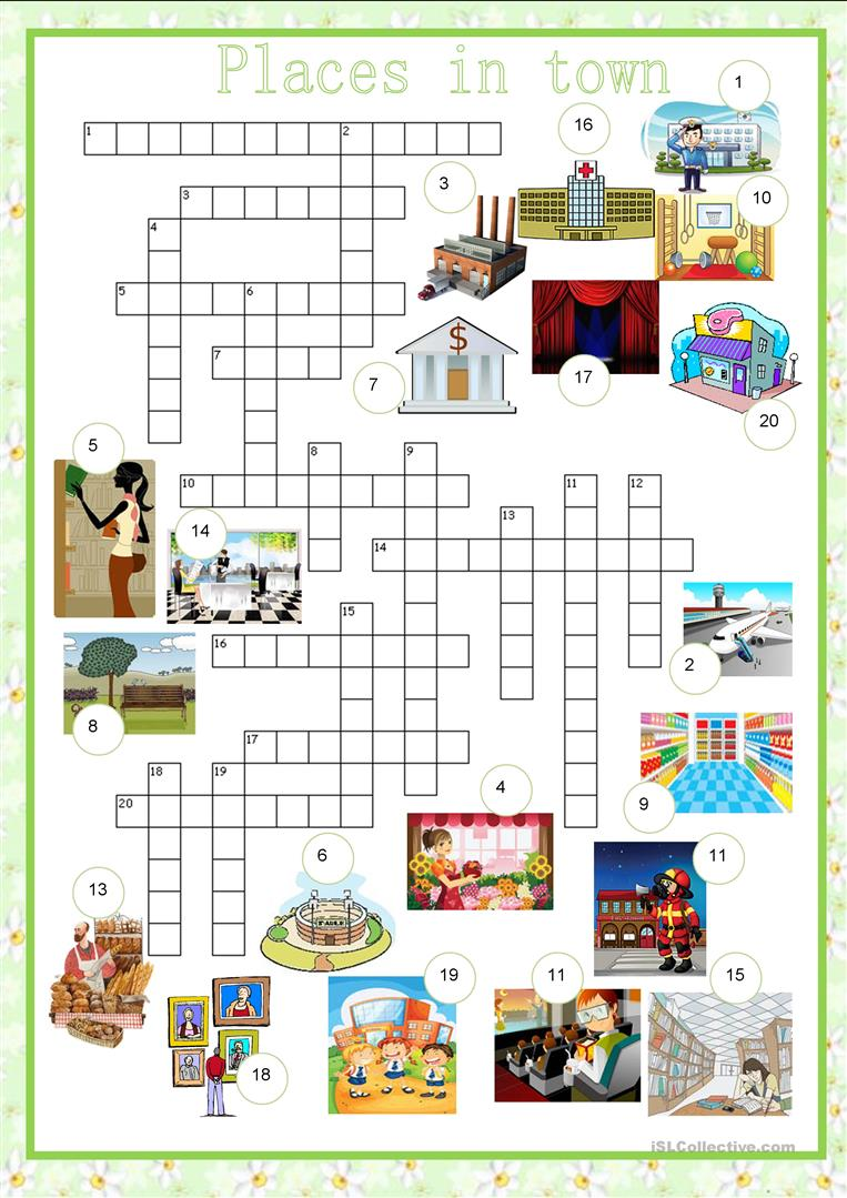 crosswords city places in town english esl worksheets. Black Bedroom Furniture Sets. Home Design Ideas