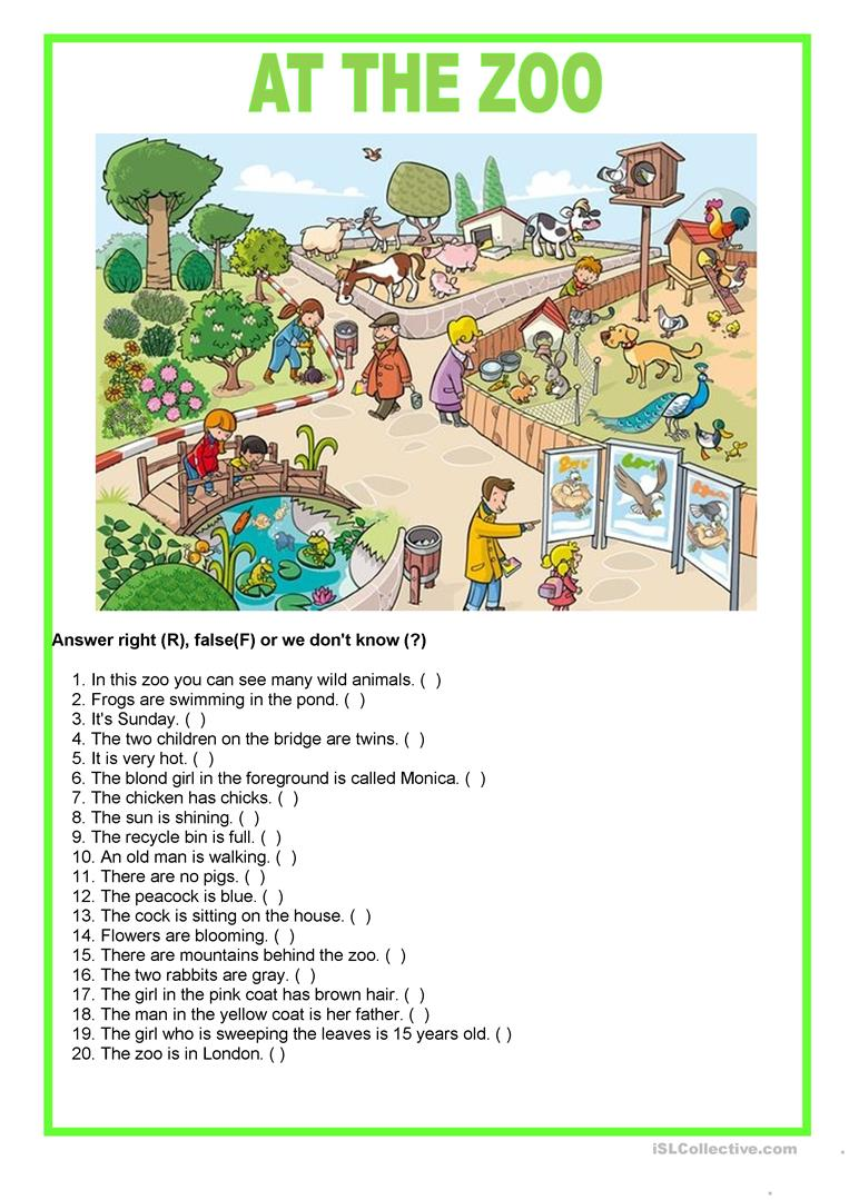 0f1d6ee76 Picture description - At the zoo worksheet - Free ESL printable ...