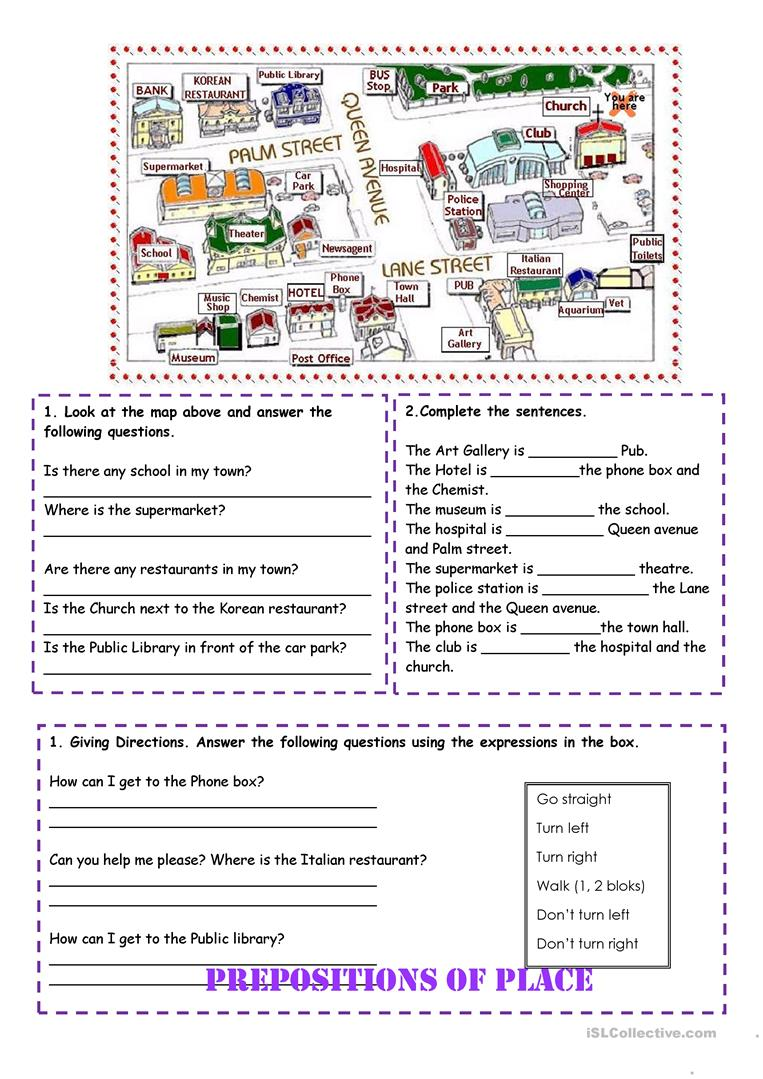 Prepositions of place and directions worksheet - Free ESL printable ...