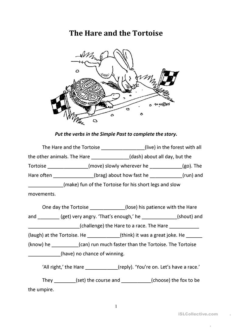 The Hare And The Tortoise English Esl Worksheets For Distance