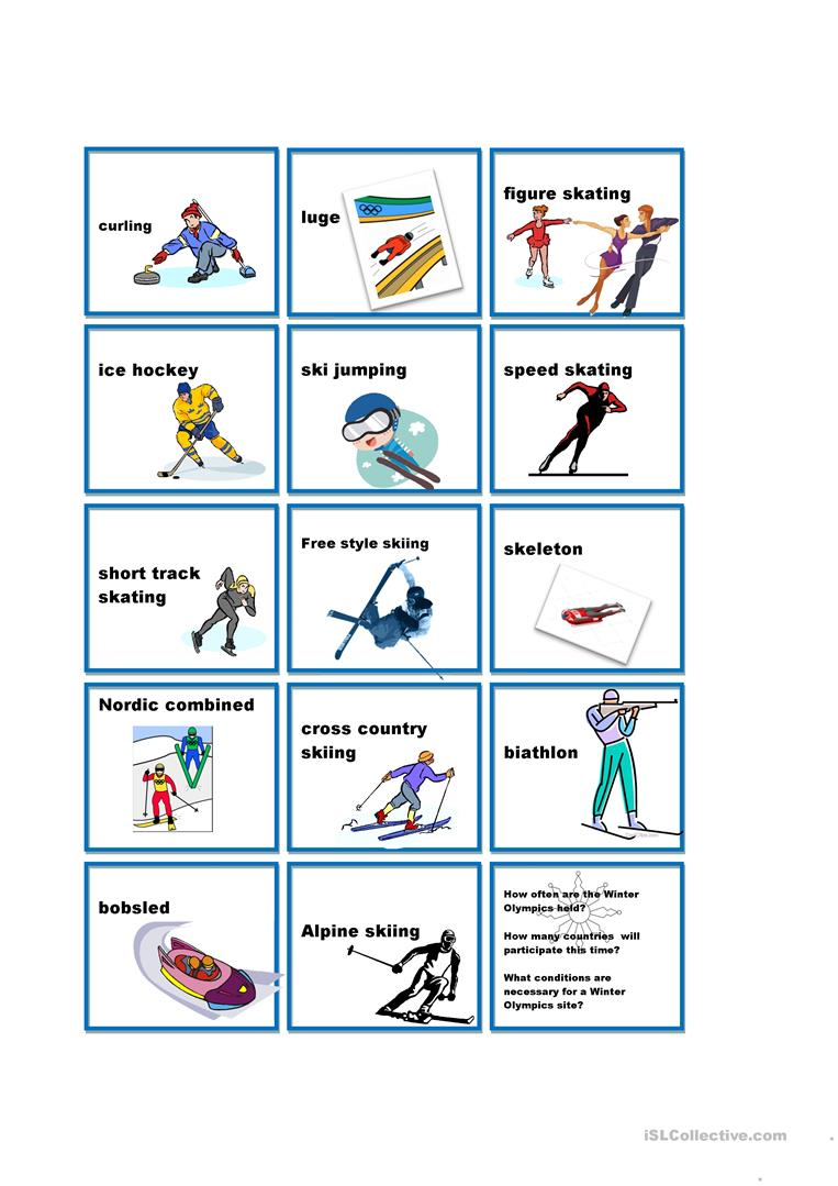 winter olympics:guess my sport riddles worksheet - free esl