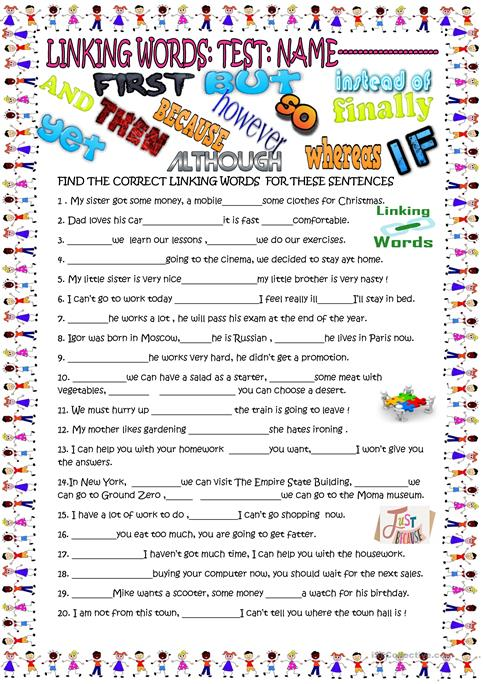 Linking Wordsgap Filler With Key Worksheet Free Esl Printable