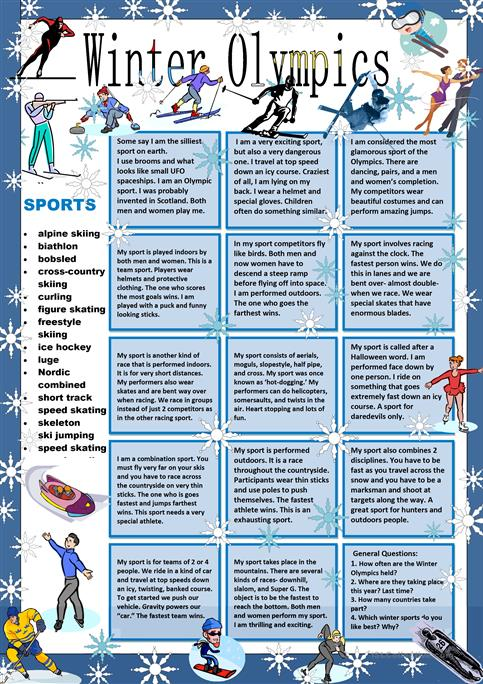 Winter Olympics:Guess My Sport worksheet - Free ESL printable ...