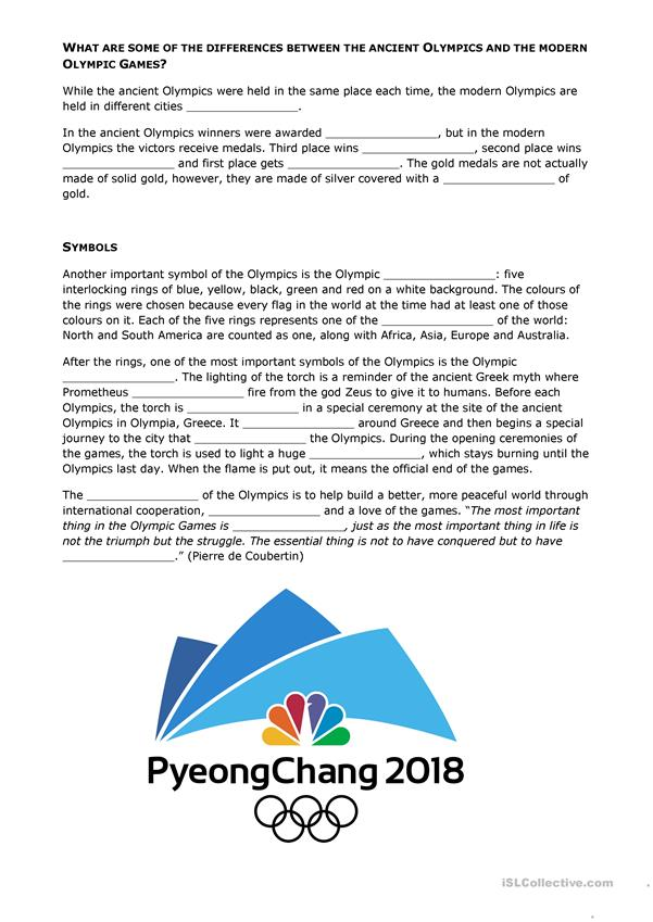 All about the Olympics - English ESL Worksheets