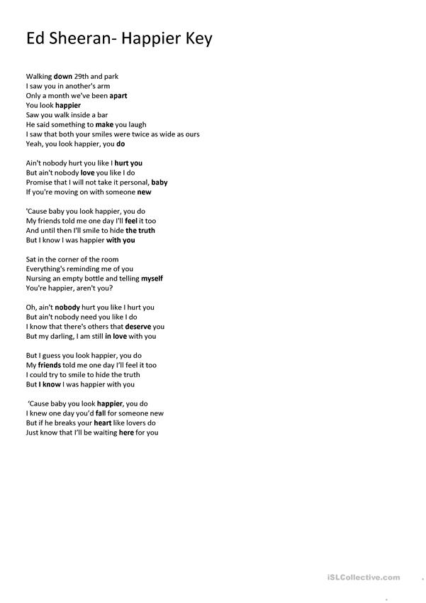 Ed Sheeran Happier English Esl Worksheets For Distance Learning