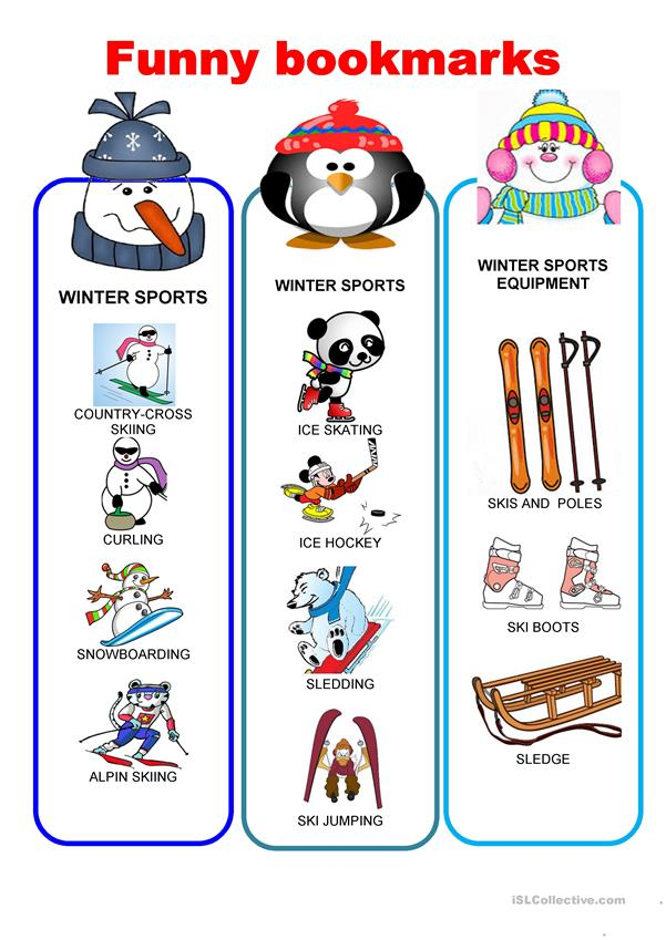 Funny bookmarks - Winter sports