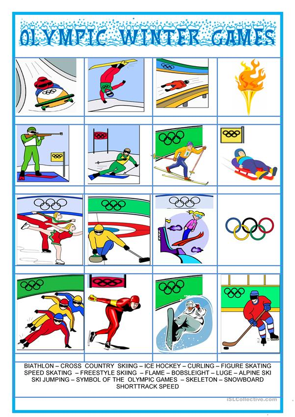 Picture dictionary - Olympic Winter games