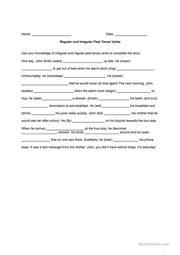 Regular and Irregular Past Tense Verb