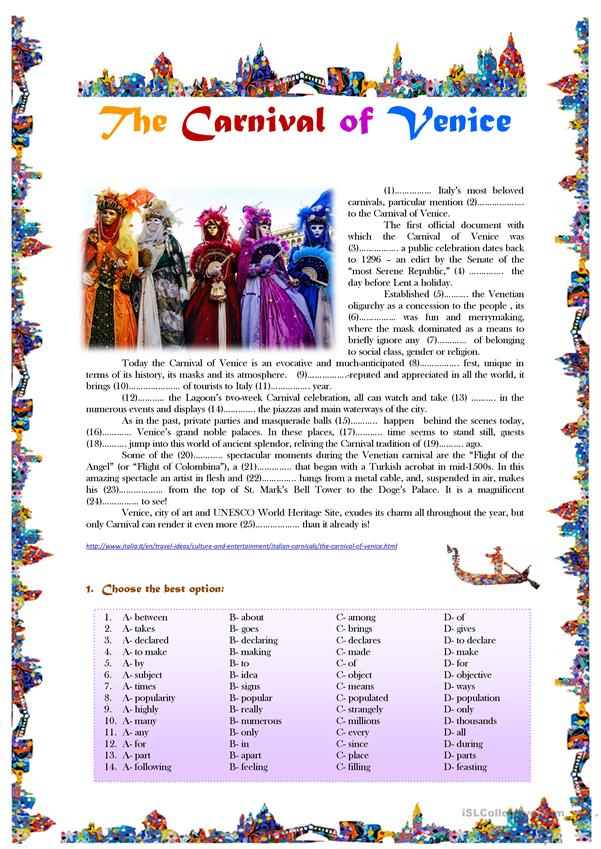 The Carnival of Venice - reading comprehension