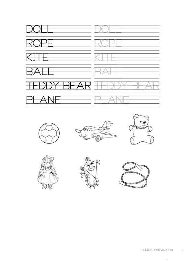 TOYS TRACING WORKSHEET
