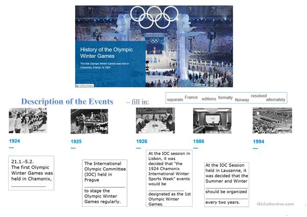 WINTER OLIMPIC GAMES - short history (fill in; vocabulary)