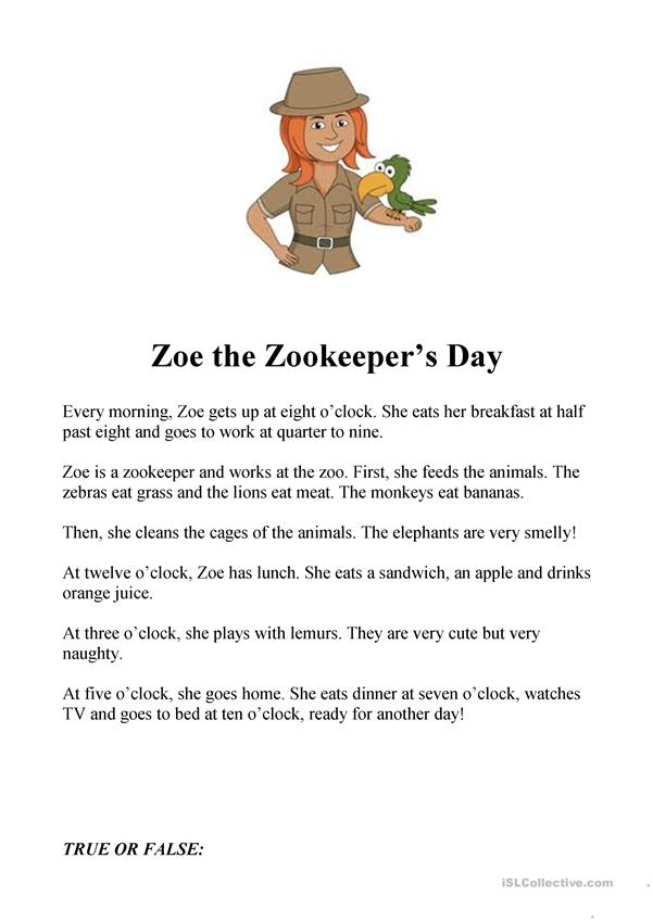 Zoe the Zookeeper daily routines and zoo vocabulary