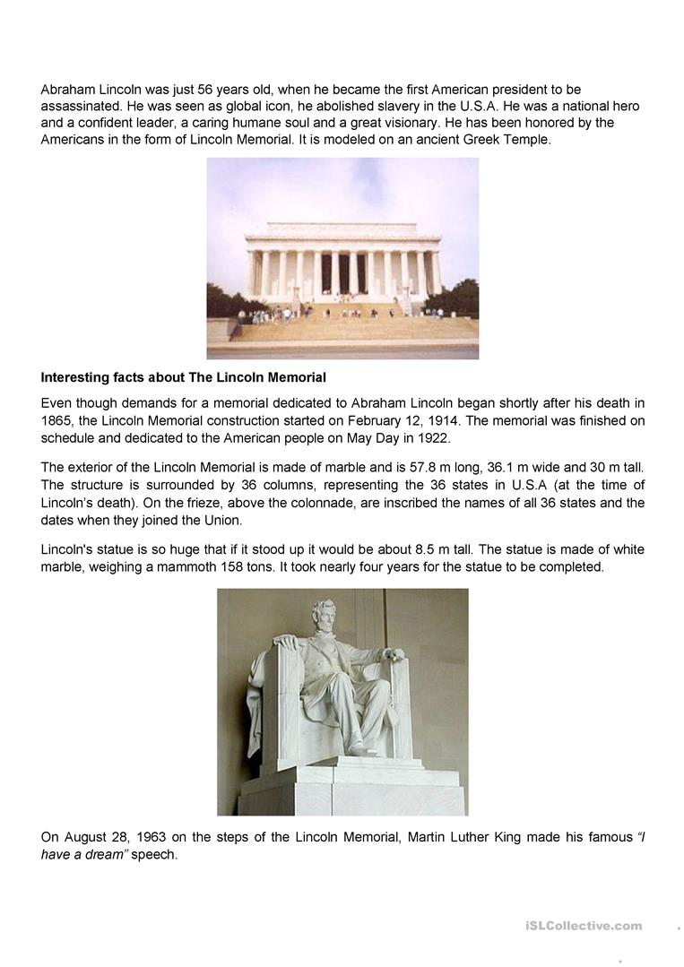 worksheet Abraham Lincoln Worksheets abraham lincoln statue and memorial worksheet free esl full screen