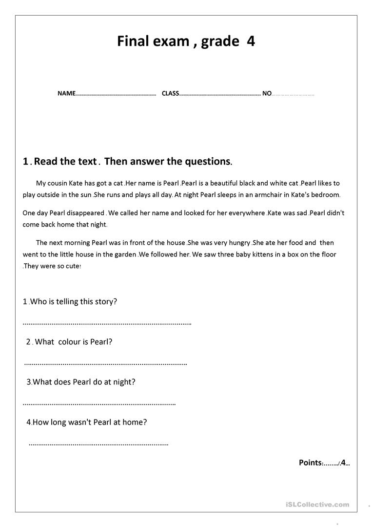 - Final Exam Grade 4 - English ESL Worksheets For Distance Learning