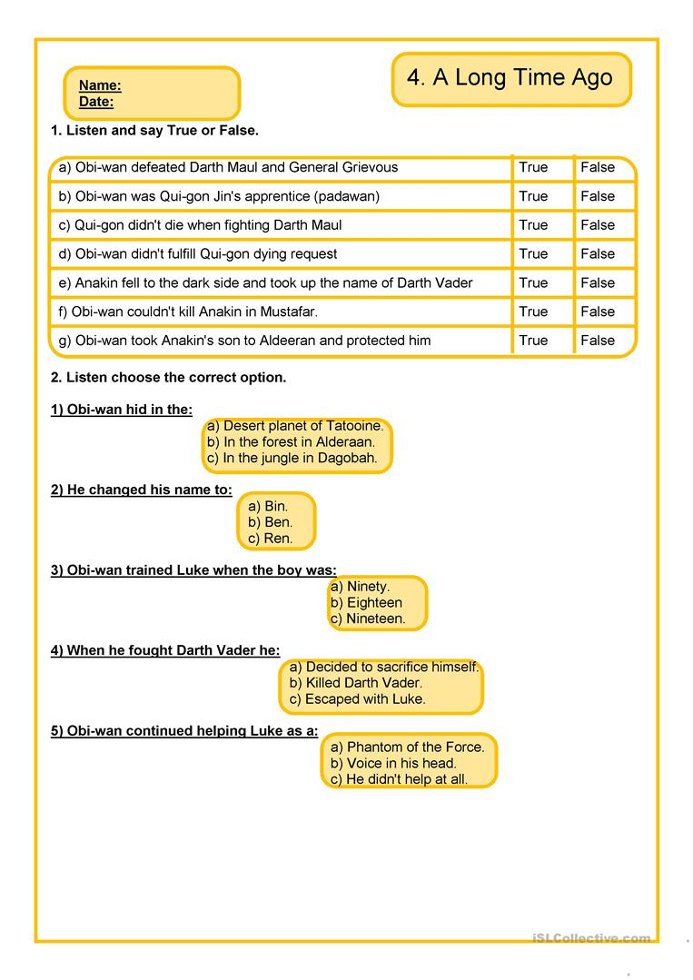 photo about Star Wars Printable Activities referred to as Star Wars Listening - English ESL Worksheets