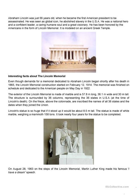 Abraham Lincoln statue and memorial worksheet