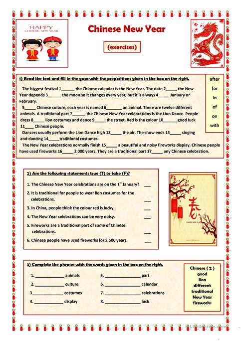 Chinese New Year Worksheet Free Esl Printable Worksheets Made By