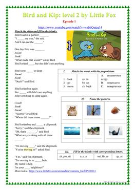 Bird and Kip Episode 1 by Little Fox worksheet