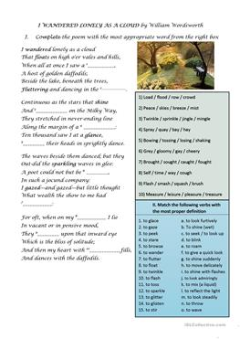 i wandered lonely worksheet Activity one worksheet i i wandered lonely as a cloud permission is granted to educators to reproduce this worksheet for classroom use title.