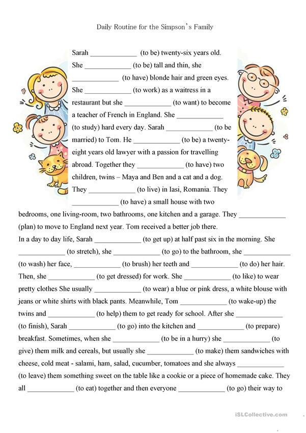 *4pages* Present simple, reading-comprehension text+exercises - family daily routine