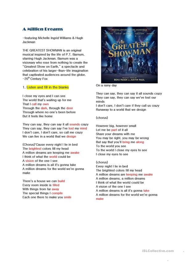 graphic relating to A Million Dreams Lyrics Printable titled A Million Desires - English ESL Worksheets