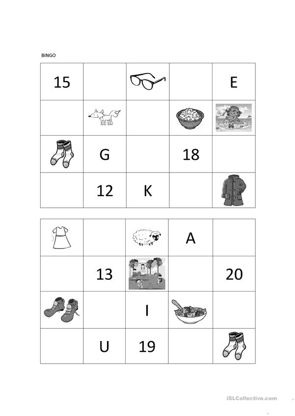 Bingo (clothes, ABC, numbers, animals, places, food)