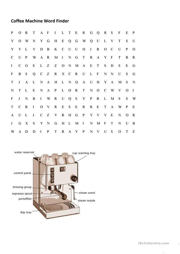 Coffee Machine wordfind