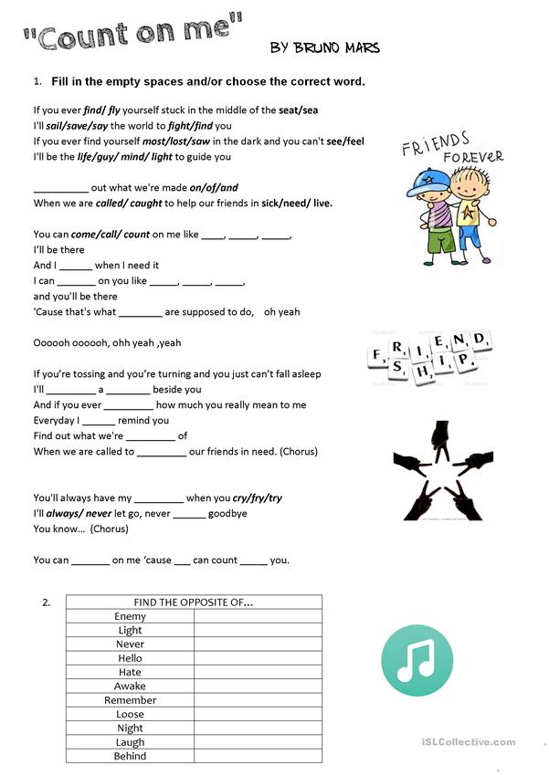 Count On Me- Bruno Mars- Song Worksheet