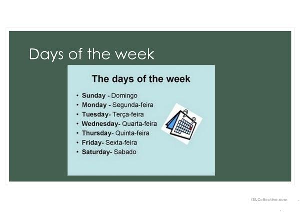 Days of the week, months and seasons slides