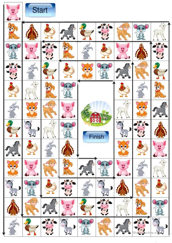 Domestic animals board game