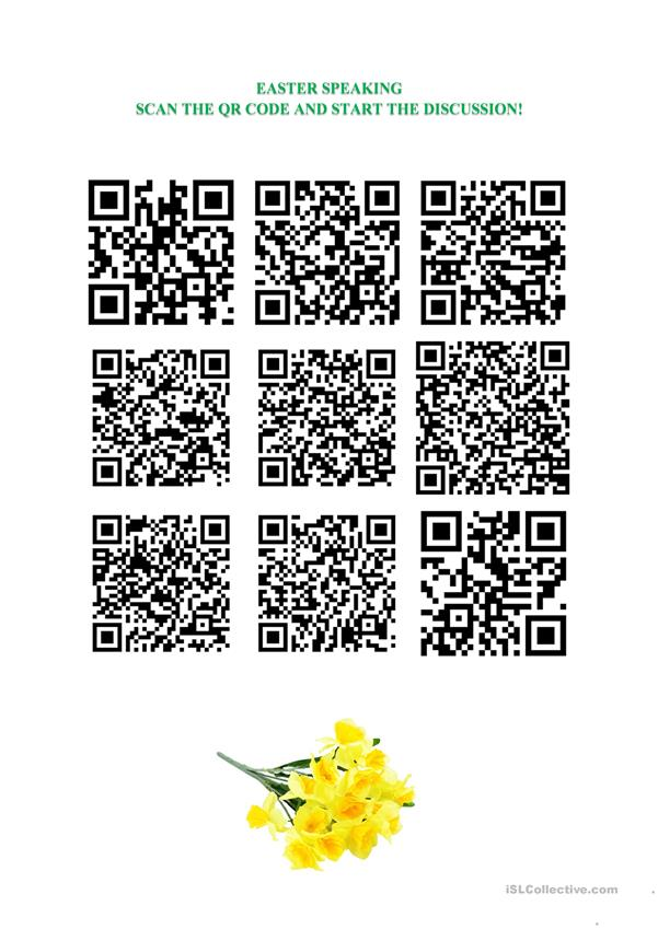 Easter Discussion - QR Questions for Speaking!