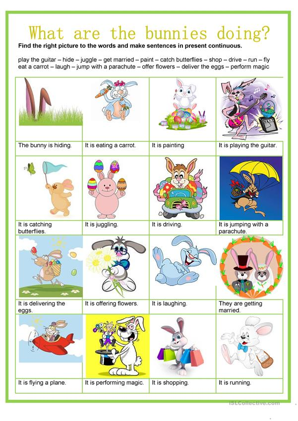 Easter - What are the Easter bunnies doing? - PresentContinuous