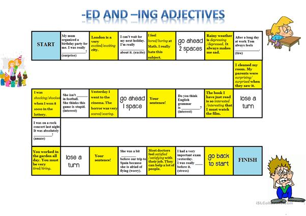 -Ed -Ing Adjectives Board Game