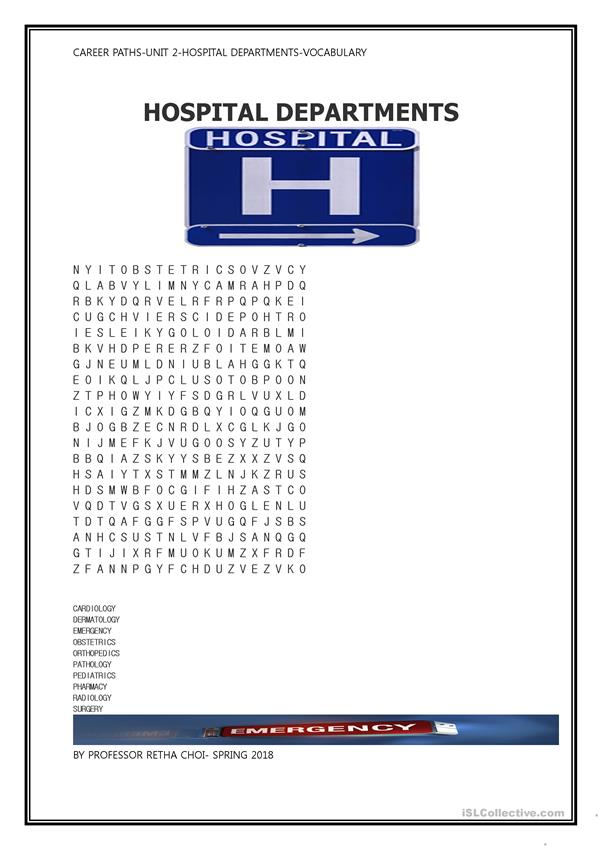 Hospital Departments puzzle