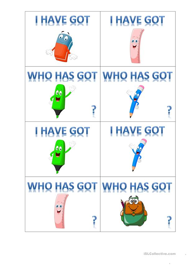 I have got_who has got_school vocabulary game