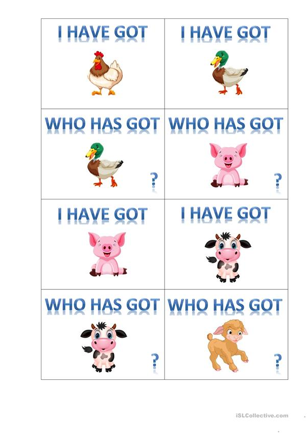 I've got... - who has got ..? card game
