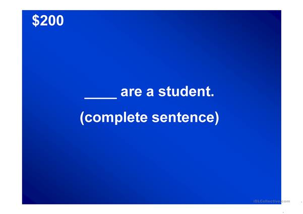 JEOPARDY ENGLISH I