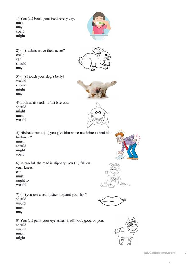 Modals and body parts worksheet