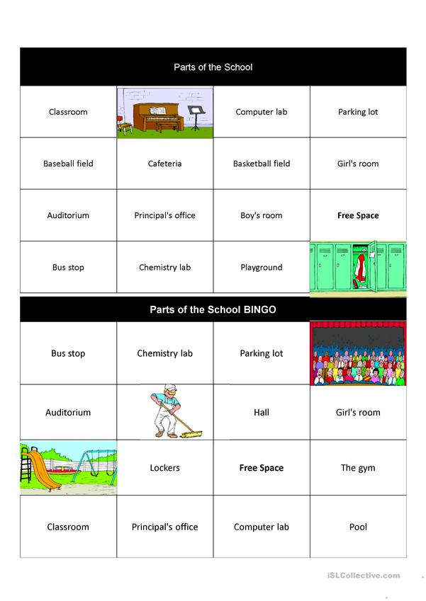 Parts of the school bingo