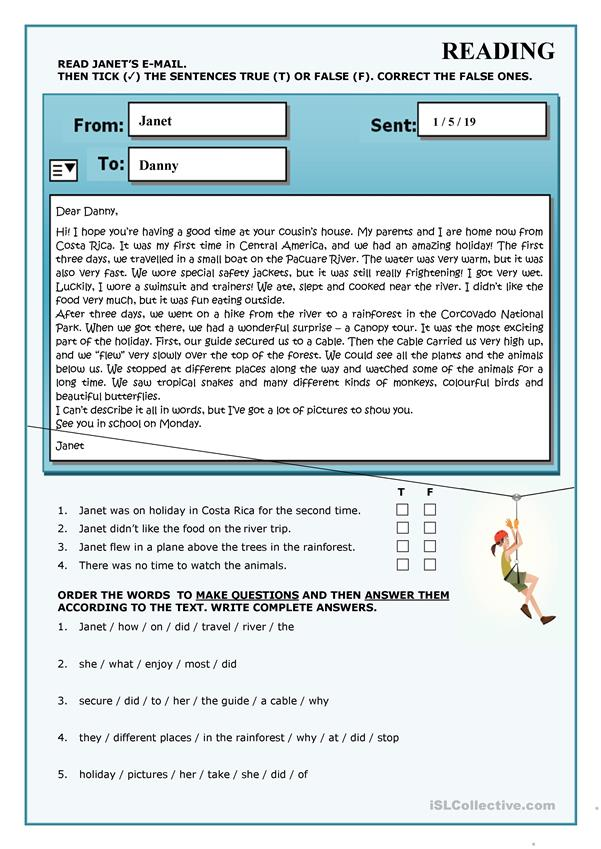 READING - A CANOPY TOUR - E-MAIL WRITING SAMPLE