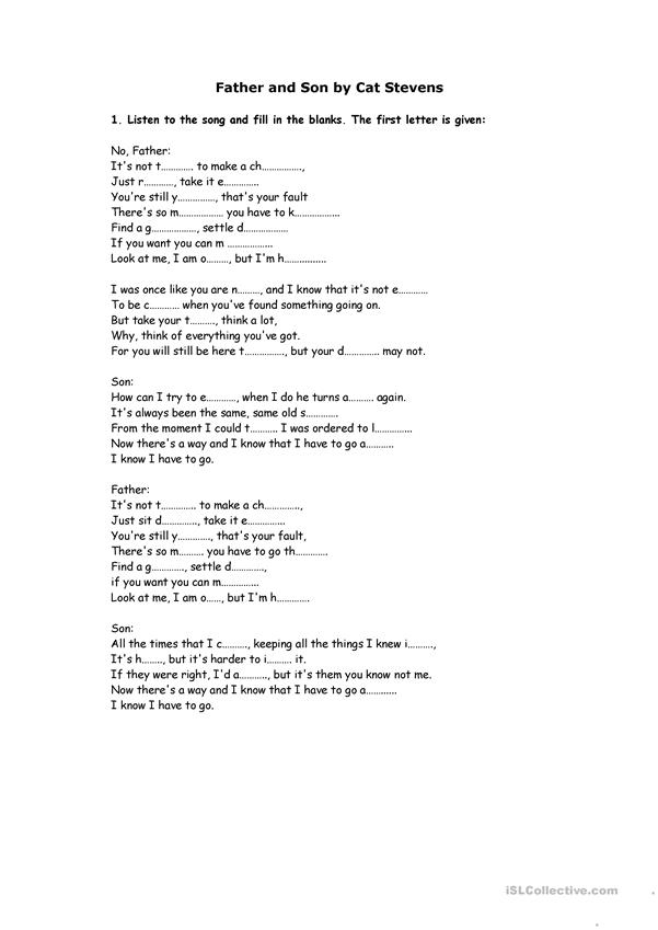 Song Worksheet: Father & Son