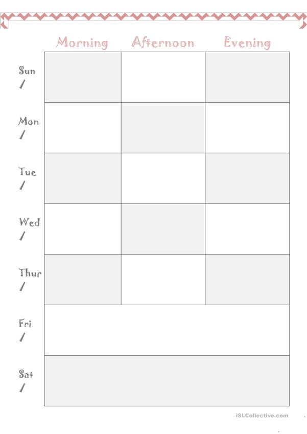 weekly plan template