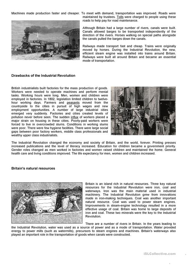 Industrial Revolution Social Studies English Esl