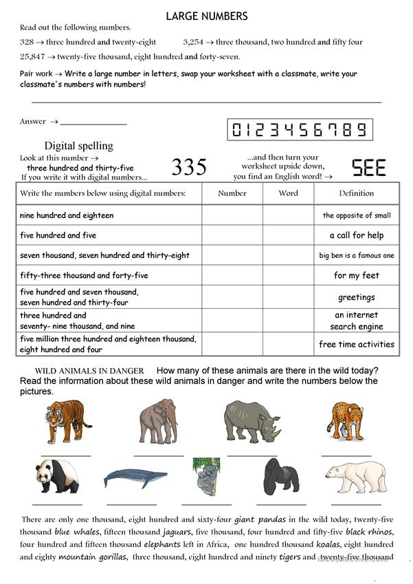 Large Numbers - English ESL Worksheets For Distance Learning And Physical  Classrooms