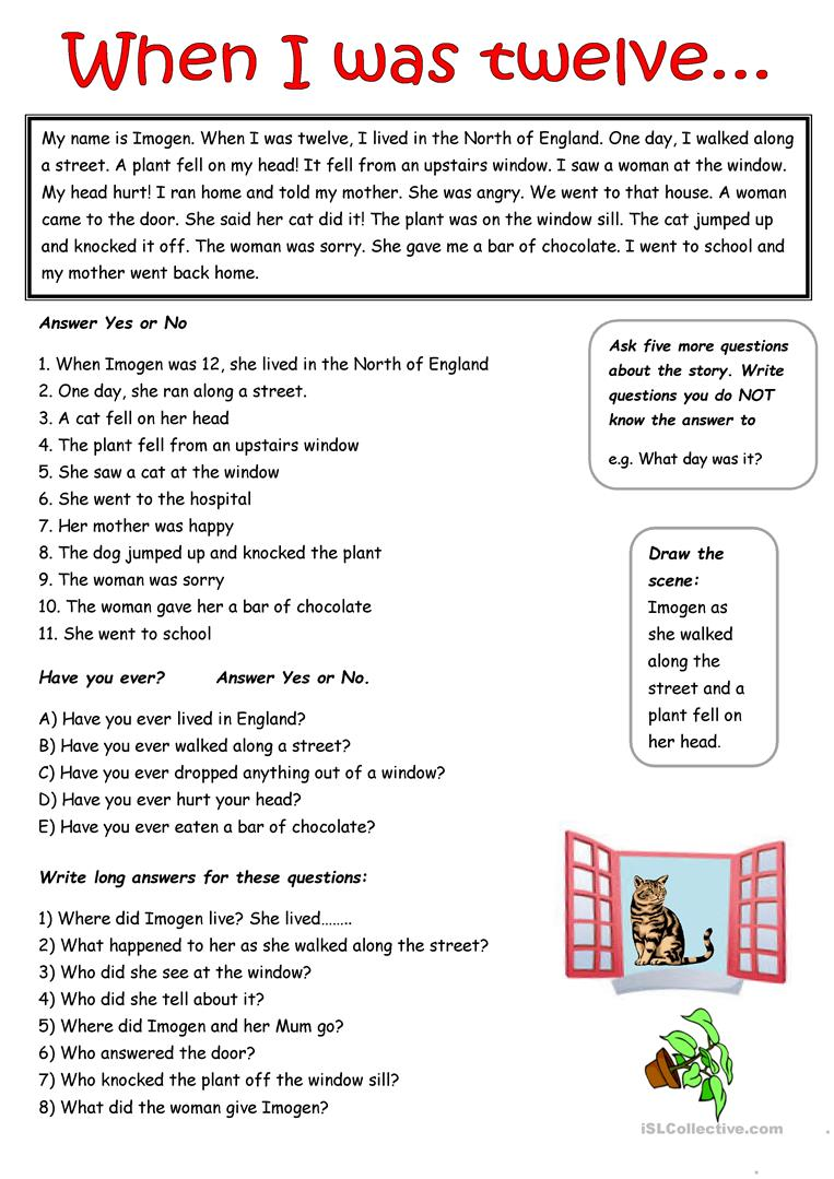 - A Simple Passage In The Past Simple Tense - English ESL Worksheets